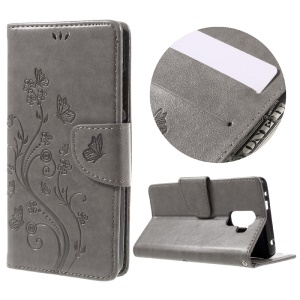 Imprint Butterfly Flower Leather Wallet Cover for Huawei Honor 7 / 7 Premium - Grey