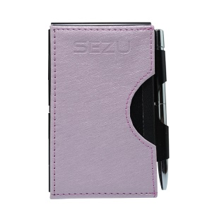 SEZU Ultra-thin Business Card 1500mAh Power Bank Built-in Micro USB Cable for Android Phones - Silk Grain /  Light Purple