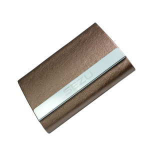 SEZU Double-sided Card Holder Pattern 1500mAh External Battery Pack Charger for iPhone Samsung - Silk Texture / Coffee