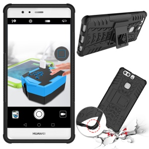 Anti-slip PC TPU Hybrid Cover for Huawei P9 Plus with Kickstand - Black