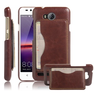 For Huawei Y3II / Y3 II Retro Leather Coated Plastic Back Case - Brown