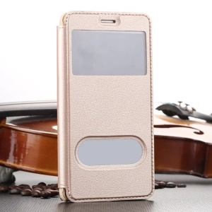Plastic Dual Window Leather Stand Shell for Huawei Honor 5C / GT3 - Gold