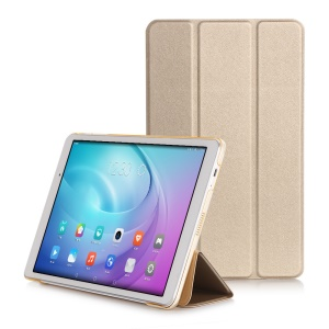 Slim Tri-fold Leather Stand Shell Case for Huawei MediaPad T2 10.0 Pro - Gold