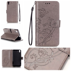 Imprint Butterfly Plant Leather Wallet Cover for Huawei Honor 4A / Y6 - Grey