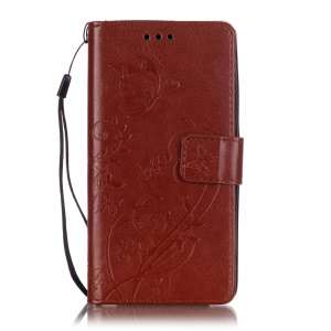 Imprint Butterfly Plant Wallet Stand Leather Case for Huawei Honor 4C - Brown