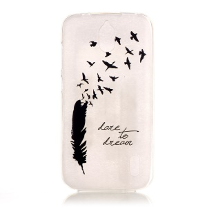 Transparent IMD TPU Gel Back Cover for Huawei Y625 - Feather and Birds