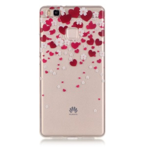 Clear IMD TPU Gel Case for Huawei P9 Lite / G9 Lite - Red Hearts