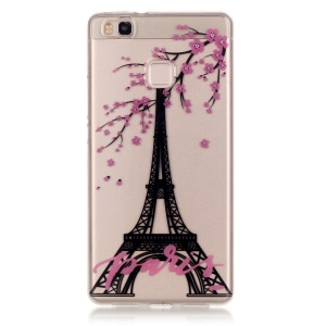 IMD Clear TPU Skin Case for Huawei P9 Lite / G9 Lite - Eiffel Tower and Flowers