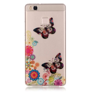 IMD Clear TPU Shell Case for Huawei P9 Lite / G9 Lite - Butterfly and Flower