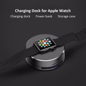 3 in 1 Aluminium Alloy Charging Dock + Power Bank + Storage Case for Apple Watch - Black