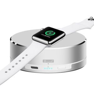 3 in 1 Aluminium Alloy Charging Dock + Power Bank + Storage Case for Apple Watch - Silver Color