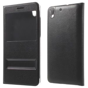 Dual View Window Flip Leather Protective Case for Huawei Honor 5A - Black