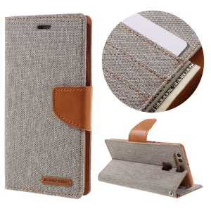 MERCURY GOOSPERY Canvas Wallet Stand Leather Cover for Huawei P9 - Grey