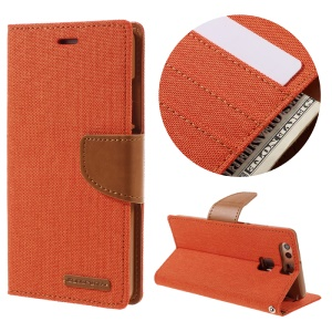MERCURY GOOSPERY Canvas Wallet Leather Phone Case for Huawei P9 - Orange