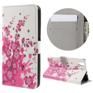 Colorful Pattern Flip Leather Wallet Stand Cover for Huawei Honor 5A - Peach Blossom