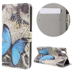 Colorful Pattern Flip Leather Wallet Protective Case for Huawei Honor 5A - Blue Butterfly