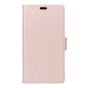 Crazy Horse Leather Wallet Stand Shell for Huawei Honor 8 - Pink