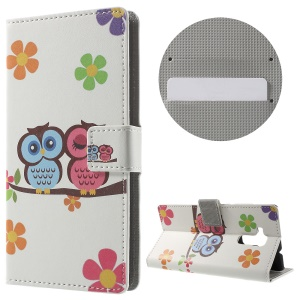 Wallet Leather Case Cover for Huawei Honor 5c - Owls and Flowers