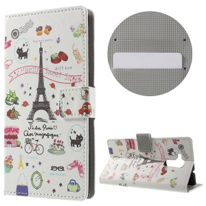 Magnetic Leather Stand Cover for Huawei Honor 5c - Eiffel Tower and Fruits