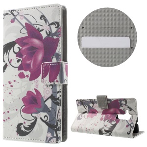 Wallet Leather Magnetic Case for Huawei Honor 5c / GT3 - Purple Flowers