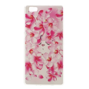 Softlyfit Embossed Pattern TPU Gel Cover for Huawei Ascend P8 Lite - Peach Flower