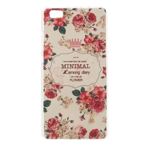 Softlyfit Embossed Gel TPU Skin for Huawei Ascend P8 Lite - Sunny Sweet Memory Peony Flower