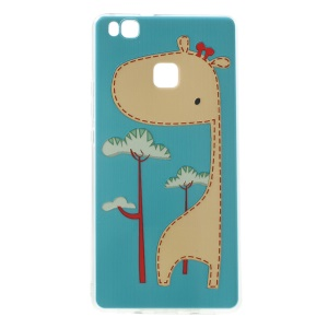 Softlyfit Embossing Cover TPU Back Case for Huawei P9 Lite/G9 Lite - Cute Giraffe