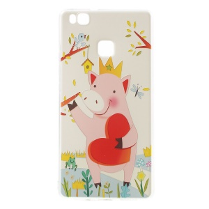 Softlyfit Embossed TPU Phone Case for Huawei P9 Lite/G9 Lite - Cartoon Pig Holding Heart