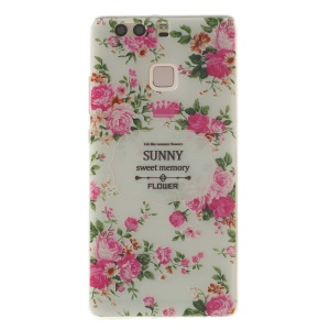 Softlyfit Embossed TPU Slim Cover for Huawei P9 - Sunny Sweet Memory Peony Flower
