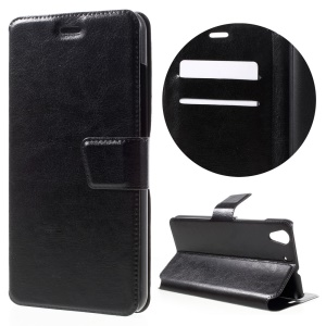 Crazy Horse Stand Leather Card Holder Case for Huawei Y6 II / Honor 5A - Black