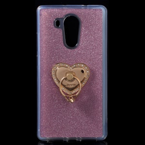 Metal Ring Kickstand Flash Power TPU Case for Huawei Mate 8 - Pink