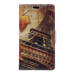 Wallet Leather Cover Case for Huawei Honor 8 - Maple Leaves and Eiffel Tower