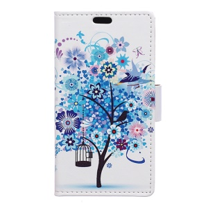 Leather Stand Case with Card Slots for Huawei Honor 8 - Blue Tree