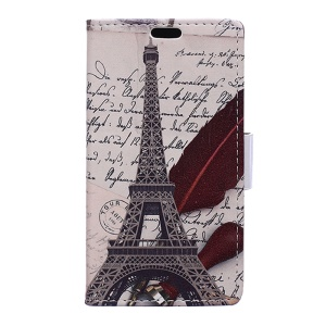 Wallet Leather Phone Case for Huawei Honor 8 - Eiffel Tower and Characters