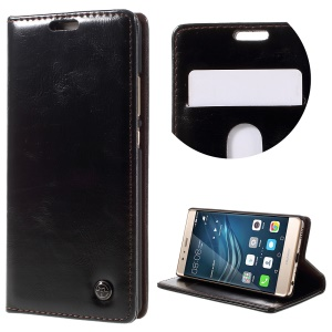 CASEME Oil Wax Leather Stand Flip Cover for Huawei P9 - Black