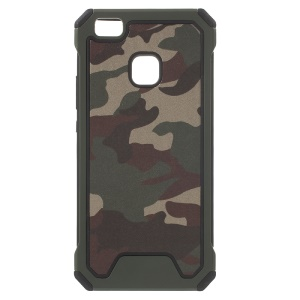 Camouflage Leather Coated PC TPU Hybrid Shell for Huawei P9 Lite / G9 Lite - Army Green