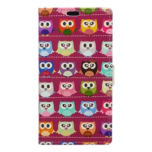 Pattern Printing Leather Wallet Stand Case for Huawei Honor 8 - Red Lovely Owls