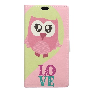 Pattern Printing Stand Leather Wallet Cover for Huawei Honor 8 - Pink Owl