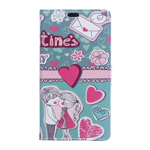 Pattern Printing Magnetic Leather Wallet Cover for Huawei Honor 8 - Sweet Lover