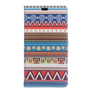 Diary Style Leather Wallet Stand Cover for Huawei Honor 8 - Tribal Geometric Figure