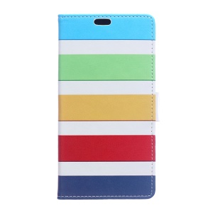 Wallet Stand Leather Pattern Printing Shell for Huawei Honor 8 - Colorized Stripes