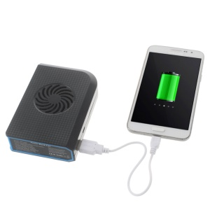 6000mAh Portable Power Bank Bladeless Fan for iPhone iPad Samsung Sony - Black