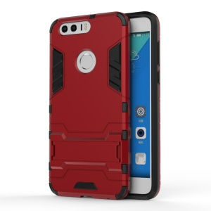 Solid PC + TPU Hybrid Shell with Kickstand for Huawei Honor 8 - Red