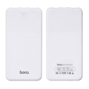 HOCO B8 Colorful 6000mAh Dual USB Power Bank Charger for iPhone Samsung - White