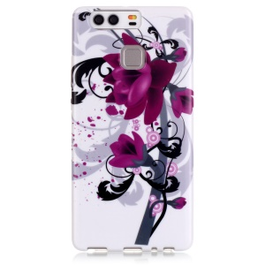 Stylish Patterned TPU Protective Shell for Huawei P9 - Purple Flowers