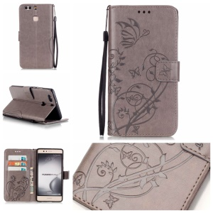 Imprint Butterfly Flowers Leather Wallet Cover for Huawei P9 Plus - Grey