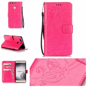 Imprint Butterfly Flowers Leather Wallet Cover Case for Huawei P9 Plus - Rose
