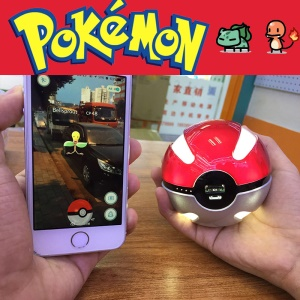 Pokemon Go Pokeball 10000mAh Power Bank Luminous Pocket Monster Ball Charger - Red