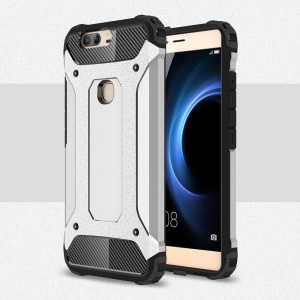 Hybrid Plastic + TPU Shell Case Cover for Huawei Honor V8 - Silver