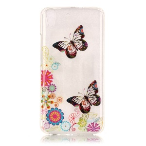 Soft IMD TPU Shell Case for Huawei Honor 4A / Y6 - Butterfly and Flowers
